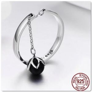 .925S Open Tears of Flower Pearl Chain Ring